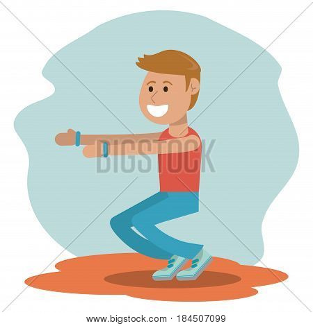 physical education - boy training exercise school vector illustration