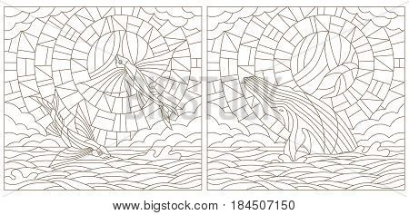 Set contour illustrations of stained glass with flying fish and whale on the sea background cloud sky and sun