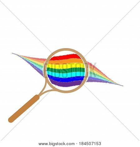 Rainbow with magnifier sign. Colorfur wavy symbol. Multicolor icon isolated on white background. Spectrum flat mark. Spring or summer love concept. Modern art scoreboard. Stock vector illustration