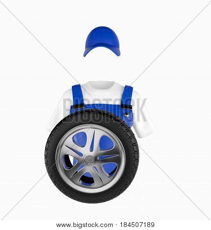 Auto Mechanic uniform and wheel. 3d rendering