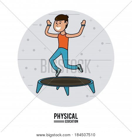 physical education - boy practice jumping trampoline sport vector illustration