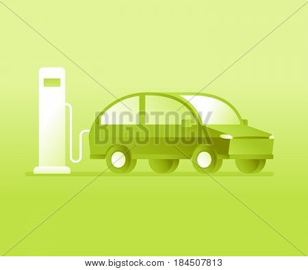 Vector Illustration In Flat Style - Electric Car Charging Battery