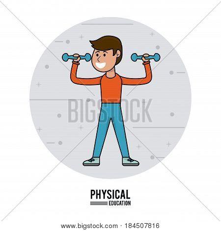 physical education - boy lifting dumbbell sport vector illustration
