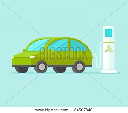 Vector Illustration In Flat Style - Electric Car