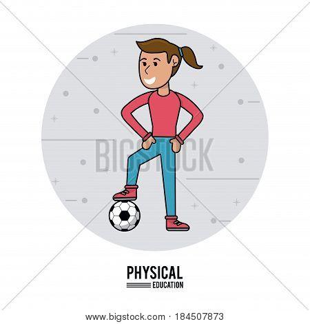 physical education - girl training soccer ball vector illustration