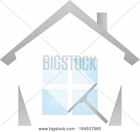 Window wiper and house, cleaning and cleaning company logo
