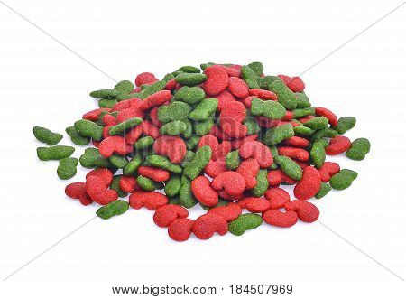 pile of dry dog food isolated on white background