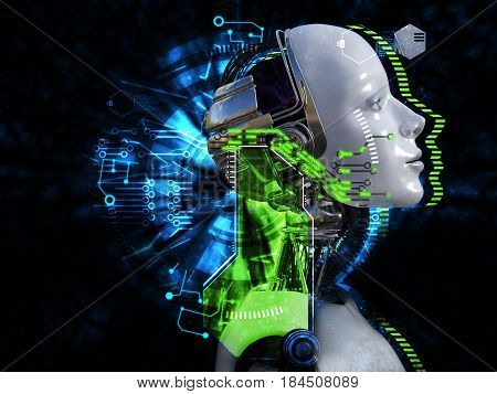 3D rendering of female robot head technology concept. Black background.
