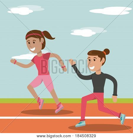 cartoon girl running athletic physical education school image vector illustration