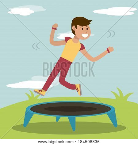 physical education - boy training jumping trampoline sport vector illustration