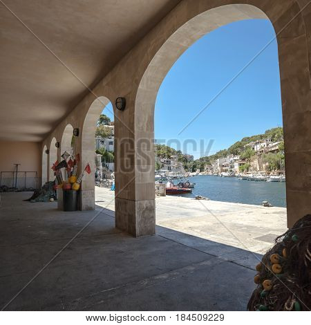 Mallorca Spain. Mallorcais island. Fisherman village Cala Figuera in Mallorca Spain
