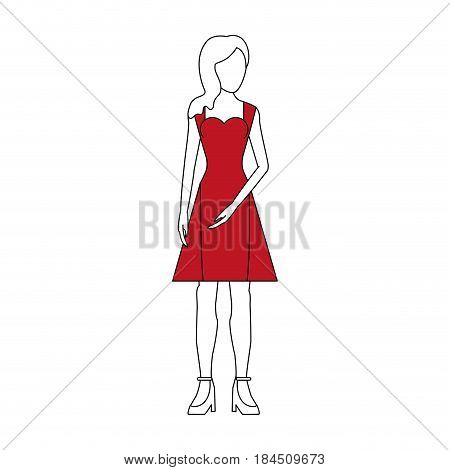 color silhouette image faceless woman with red dress clothing vector illustration