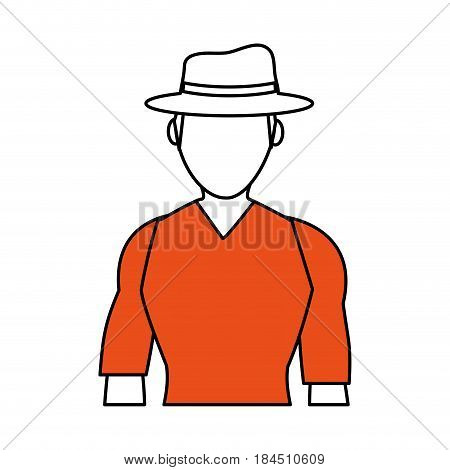 color silhouette image half body faceless explorer man with hat vector illustration