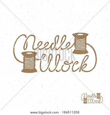 Template for logo label emblem with two spools of thread. Vector illustration.