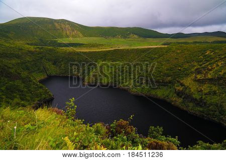 Aerial view to lake Comprida Flores island Azores. Portugal