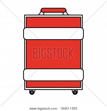 color silhouette image travel baggage with handle vector illustration