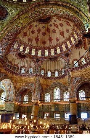 Interior Of Sultan Ahmed Mosque  (blue Mosque), Istanbul.