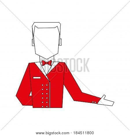 color silhouette image half body faceless bellboy with uniform vector illustration