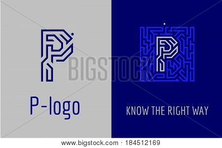 Creative logo for corporate identity of company: letter P. The logo symbolizes labyrinth, choice of right path, solutions. Suitable for consulting, financial, construction, road companies, quests, educational schools.