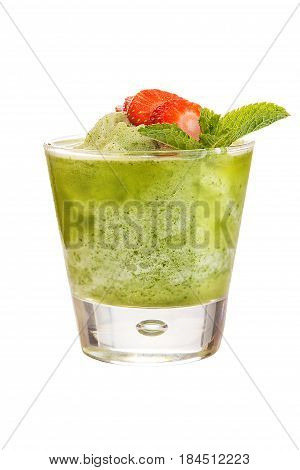 Refreshing fruit smoothies. Refreshing drink with kiwi juice decorated with strawberries and mint. isolated