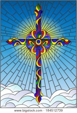 Illustration in stained glass style with bright cross on a background of blue sky and clouds