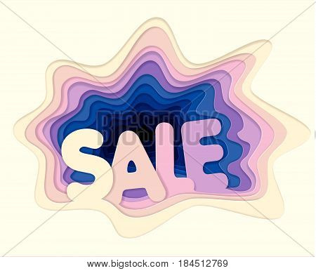 Template of creative sales illustration for a poster advertising poster from cut out layers of paper in the style of material design. Volumetric 3D holes.