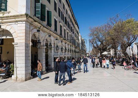 CORFU GREECE - MARCH 4 2017: The Spianada square of Corfu town, Greece. Main pedestrian street Liston.