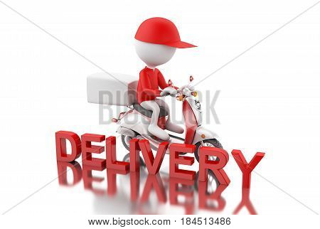 3D White People Delivering Boxes With Motorbike.