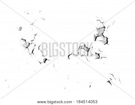 close up of cracks texture isolated on white background