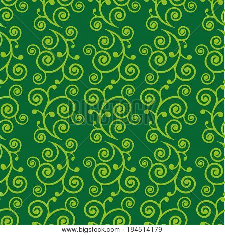Abstract green doodle curve seamless pattern. Vector illustration