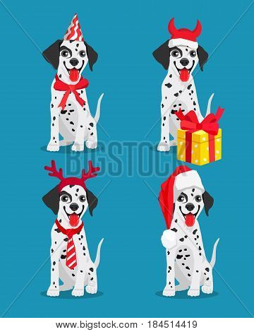 Cute Dalmatian dogs with New Year's attributes. Vector illustration on a blue-green background. Friend of human. Symbol of the 2018 year.