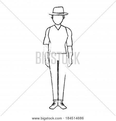 blurred silhouette full body faceless explorer man with hat vector illustration