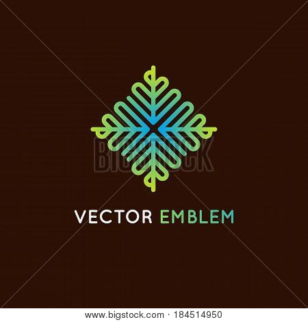 Vector Logo Design Template And Emblem Made With  Lines - Green Beauty Spa Concept