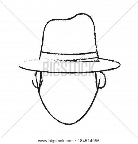 blurred silhouette front view faceless explorer man with hat vector illustration