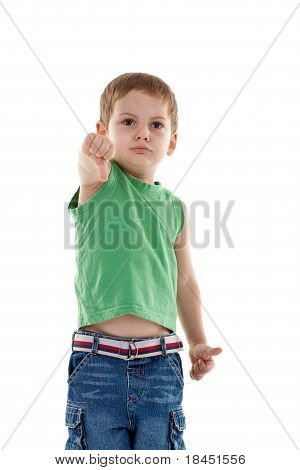 Little Man Showing The Thumb Down Gesture