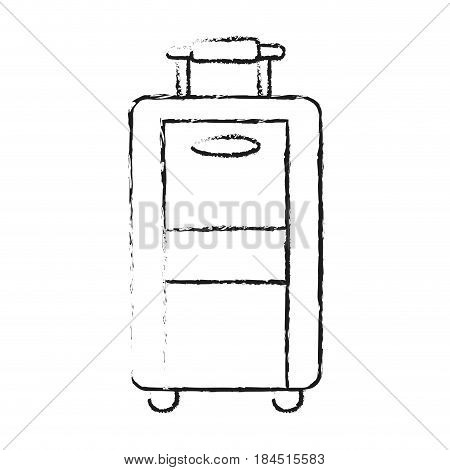 blurred silhouette travel suitcase with handle vector illustration