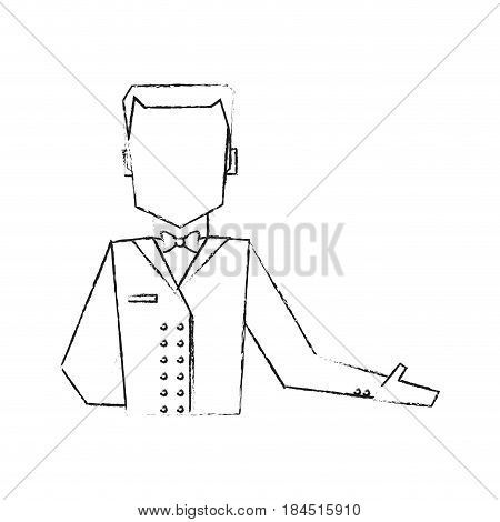 blurred silhouette half body faceless bellboy with uniform vector illustration