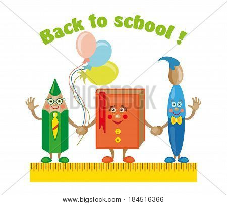 Back to School Title Poster Design in a Blackboard with School Items in a Background. Editable Illustration