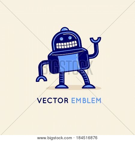 Vector Logo Design Template In Flat And Simple Style - Robot Mascot