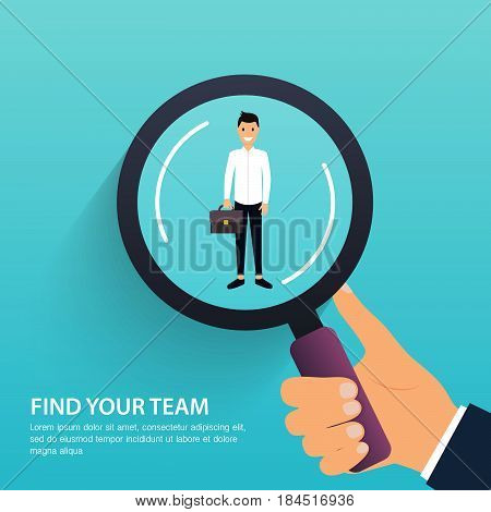 Job search and career. Human resources management and head hunter. Social Network, Media Concept. Business flat vector illustration.