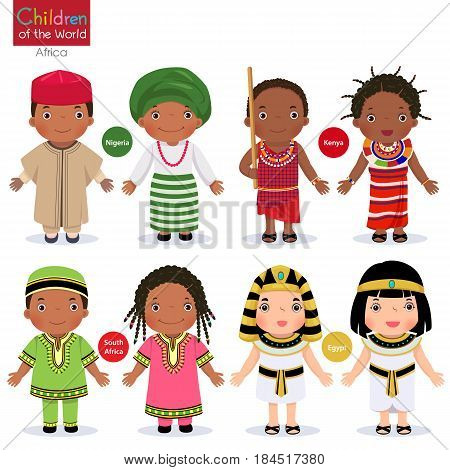 Kids in different traditional costumes. Nigeria, Kenya, South Africa, Egypt