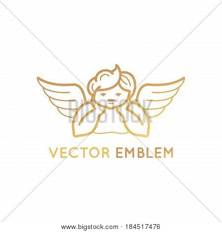 Vector Logo Design Template In Linear Style - Cute Baby Angel