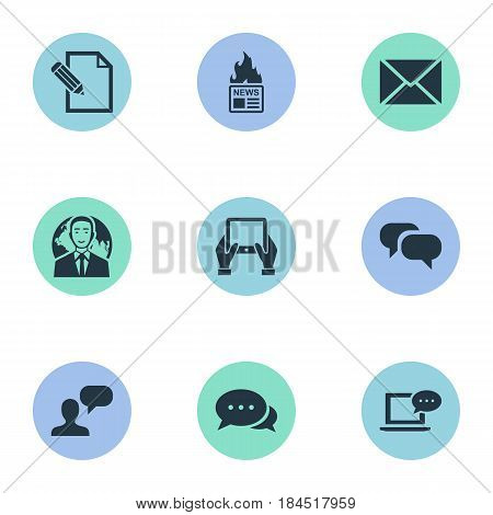 Vector Illustration Set Of Simple Newspaper Icons. Elements Gossip, Post, Gazette And Other Synonyms Epistle, News And Message.