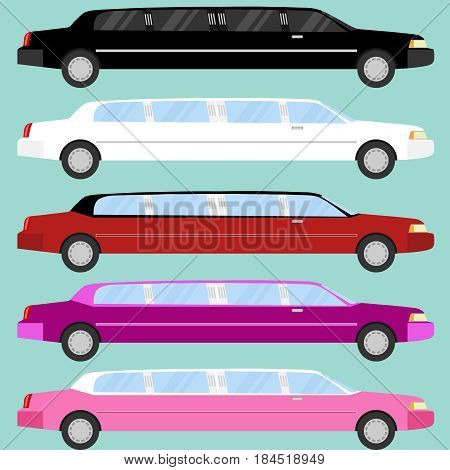 Limousine a large set of limousines. Flat design vector illustration vector.