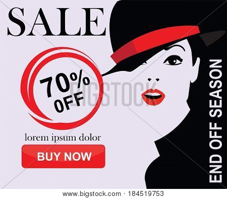 Sale banners with fashion woman in style pop art. Vector illustrations of online shopping website and mobile website banners, posters, newsletter designs, ads, coupons, social media banners.