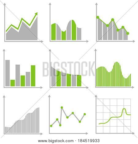 A set of graphs. Flat design vector illustration vector.