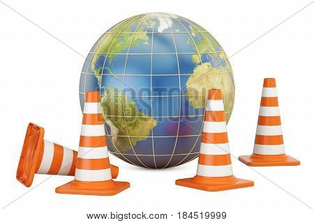 Traffic Cones with Earth Globe 3D rendering