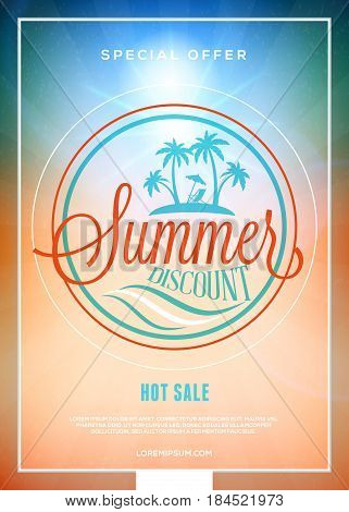 Summer Sale Flyer Or Banner. Summer Discount Label. Typography Retro Style Label. Vector Design Temp