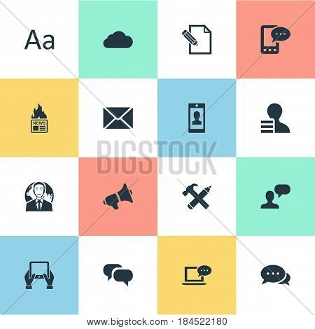Vector Illustration Set Of Simple Newspaper Icons. Elements Argument, Notepad, Gazette And Other Synonyms Earnings, Smartphone And Considering.