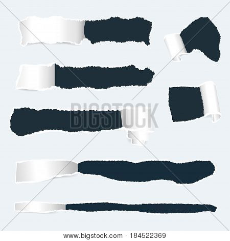 Torn paper with ripped edges set. Realistic holes in paper with damaged sides. Banners template for web design. Vector